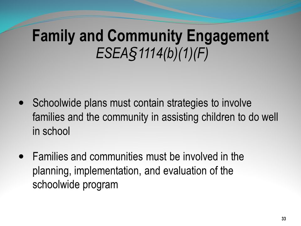 Family and Community Engagement ESEA§1114(b)(1)(F)