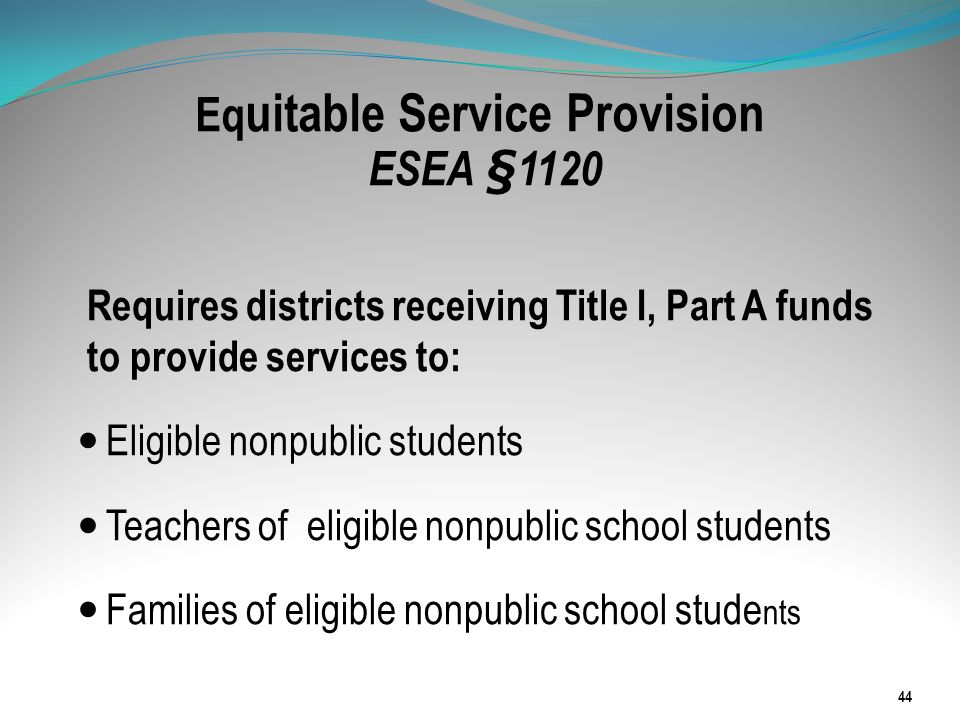 Equitable Service Provision ESEA §1120