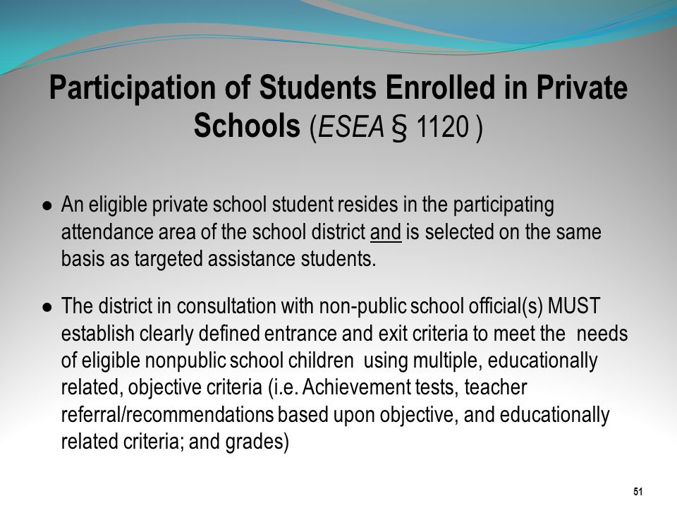 Participation of Students Enrolled in Private Schools (ESEA § 1120 )