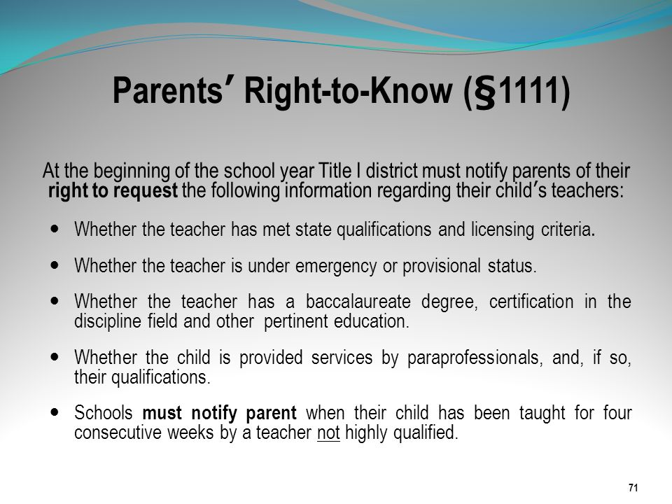 Parents' Right-to-Know (§1111)