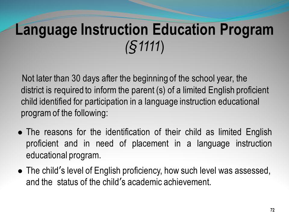 Language Instruction Education Program (§1111)