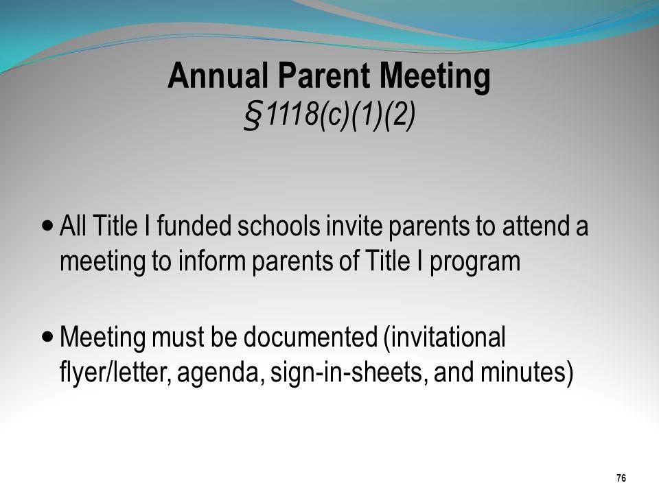 Annual Parent Meeting §1118(c)(1)(2)