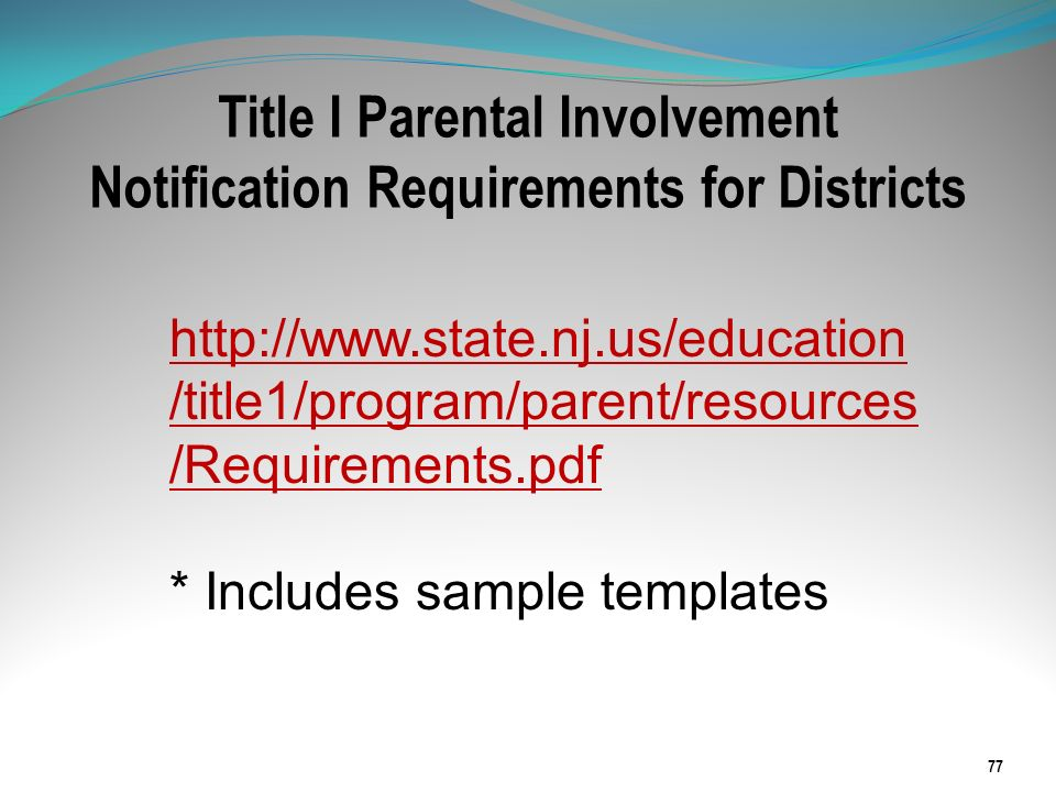 Title I Parental Involvement Notification Requirements for Districts