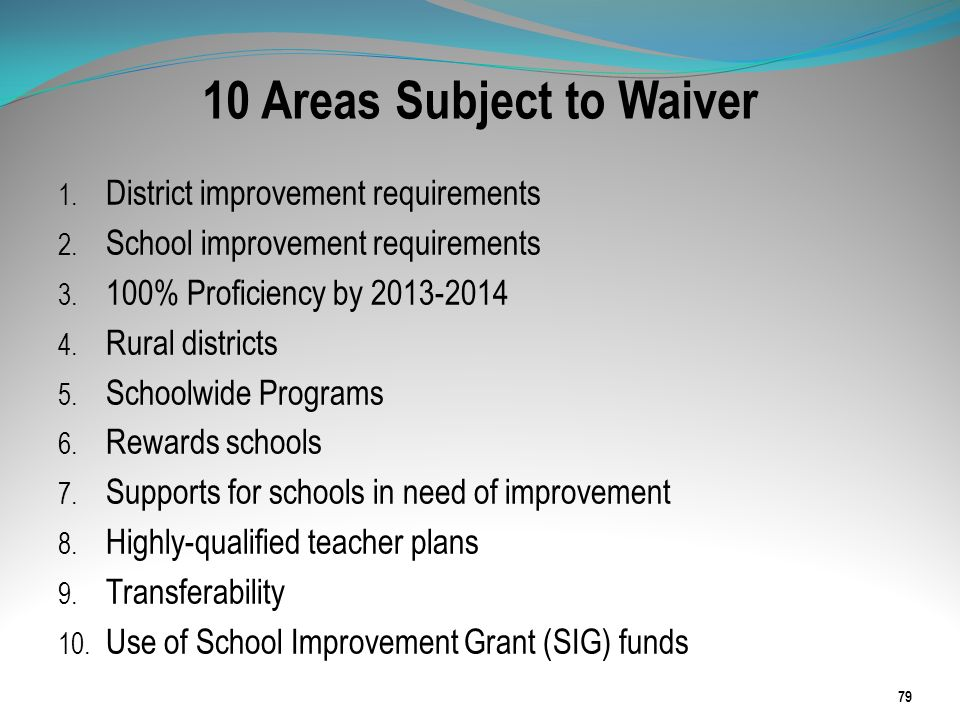 10 Areas Subject to Waiver