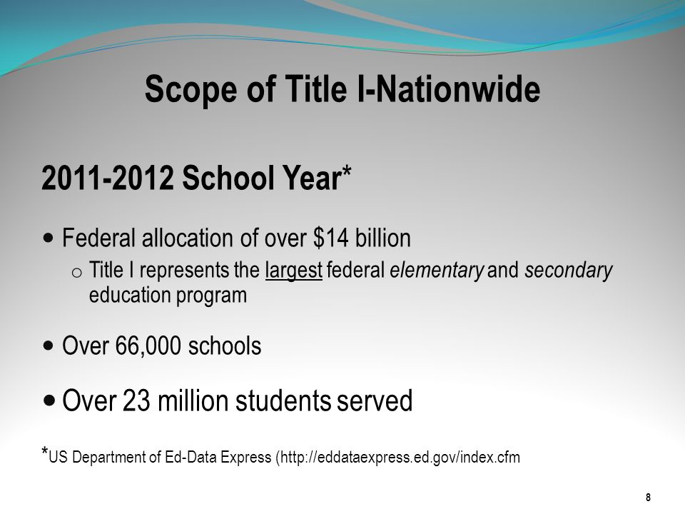 Scope of Title I-Nationwide