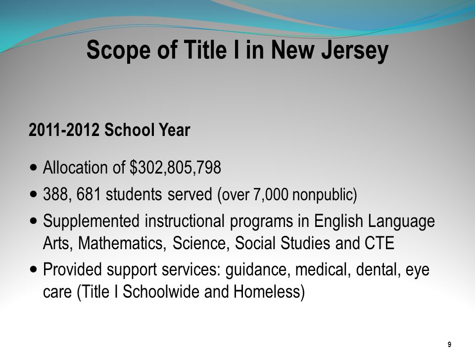 Scope of Title I in New Jersey