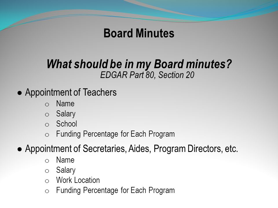 What should be in my Board minutes EDGAR Part 80, Section 20