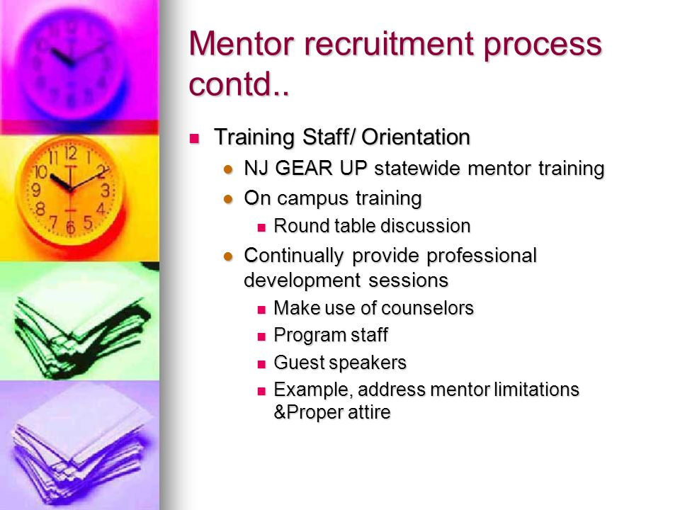 Mentor recruitment process contd..