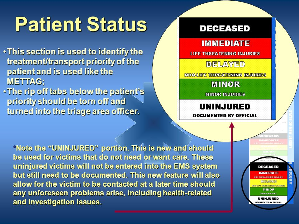 Patient Status This section is used to identify the treatment/transport priority of the patient and is used like the METTAG;