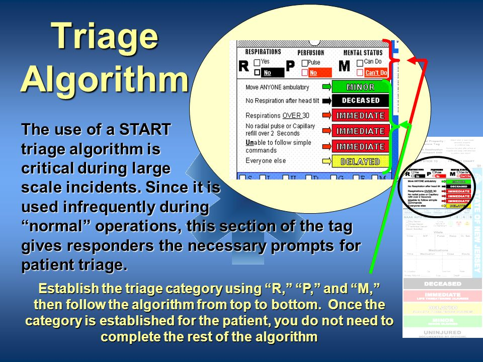 Triage Algorithm The use of a START triage algorithm is