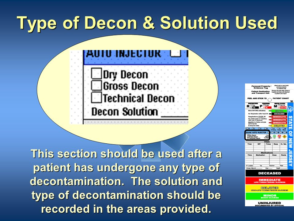 Type of Decon & Solution Used