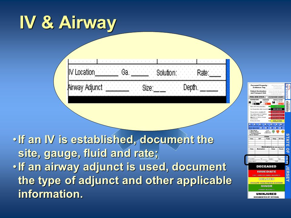 IV & Airway If an IV is established, document the site, gauge, fluid and rate;