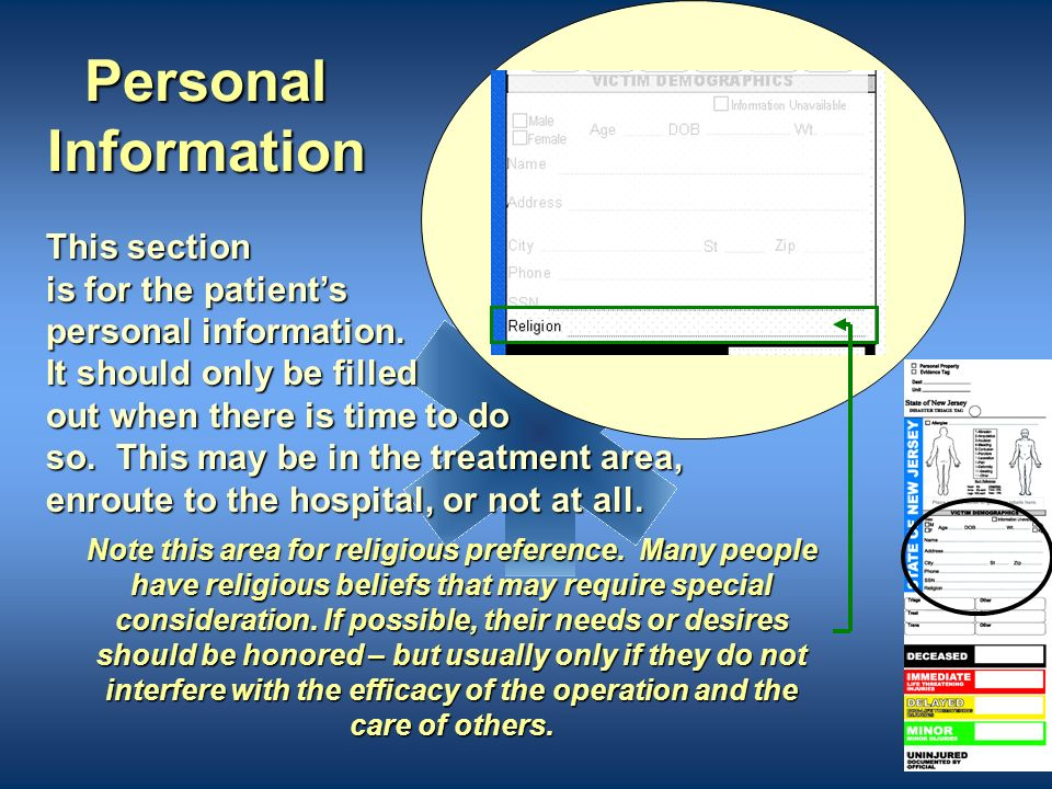 Personal Information This section is for the patient's