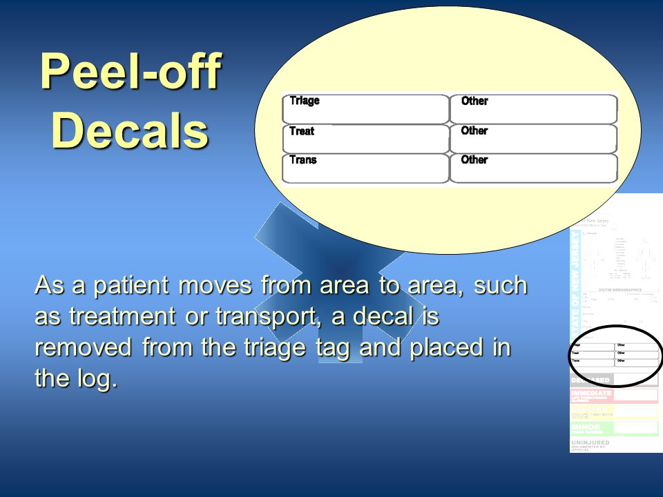 Peel-off Decals As a patient moves from area to area, such as treatment or transport, a decal is removed from the triage tag and placed in the log.