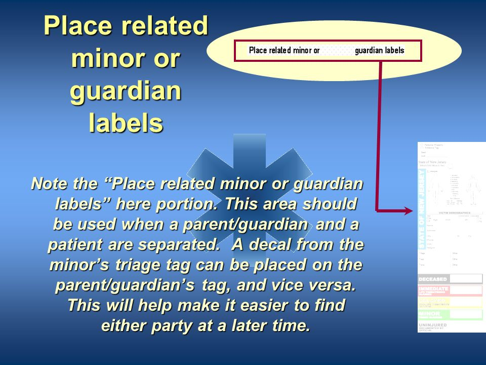 Place related minor or guardian labels