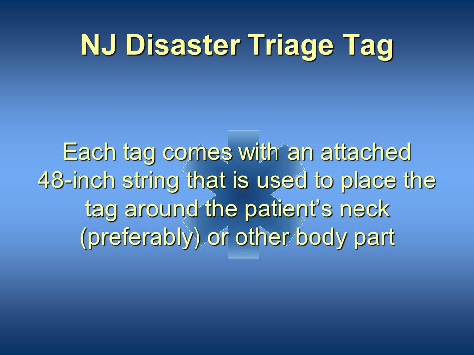 NJ Disaster Triage Tag