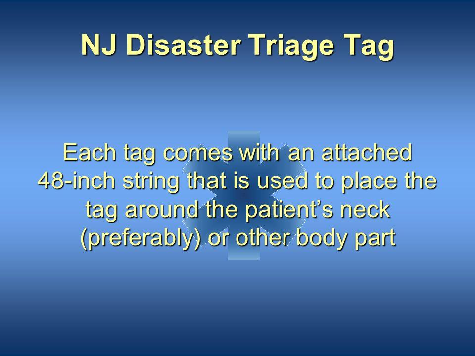 NJ Disaster Triage Tag