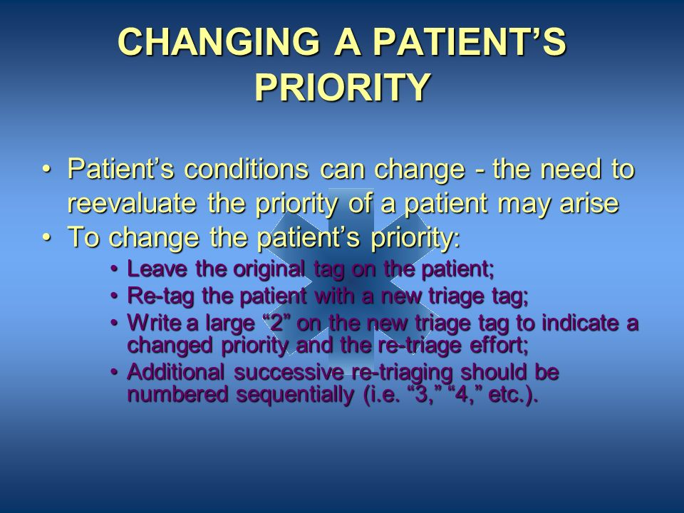 CHANGING A PATIENT'S PRIORITY