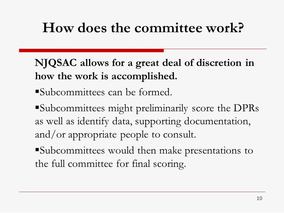 How does the committee work
