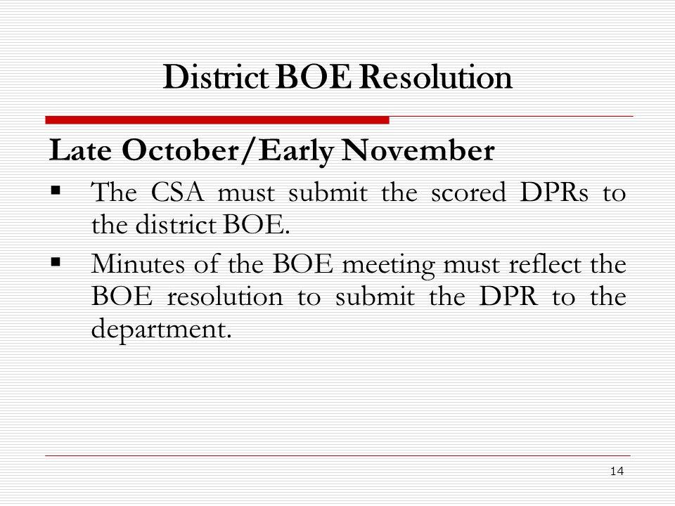 District BOE Resolution