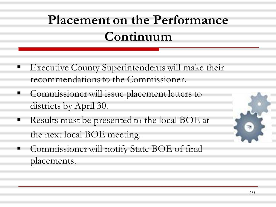 Placement on the Performance Continuum