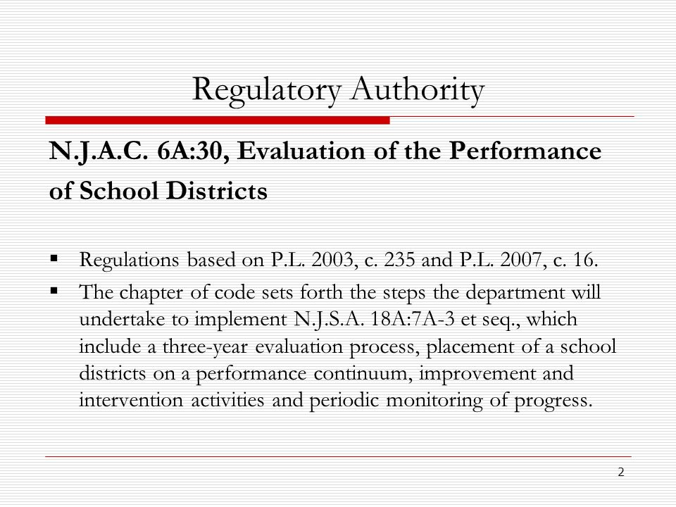 Regulatory Authority N.J.A.C. 6A:30, Evaluation of the Performance