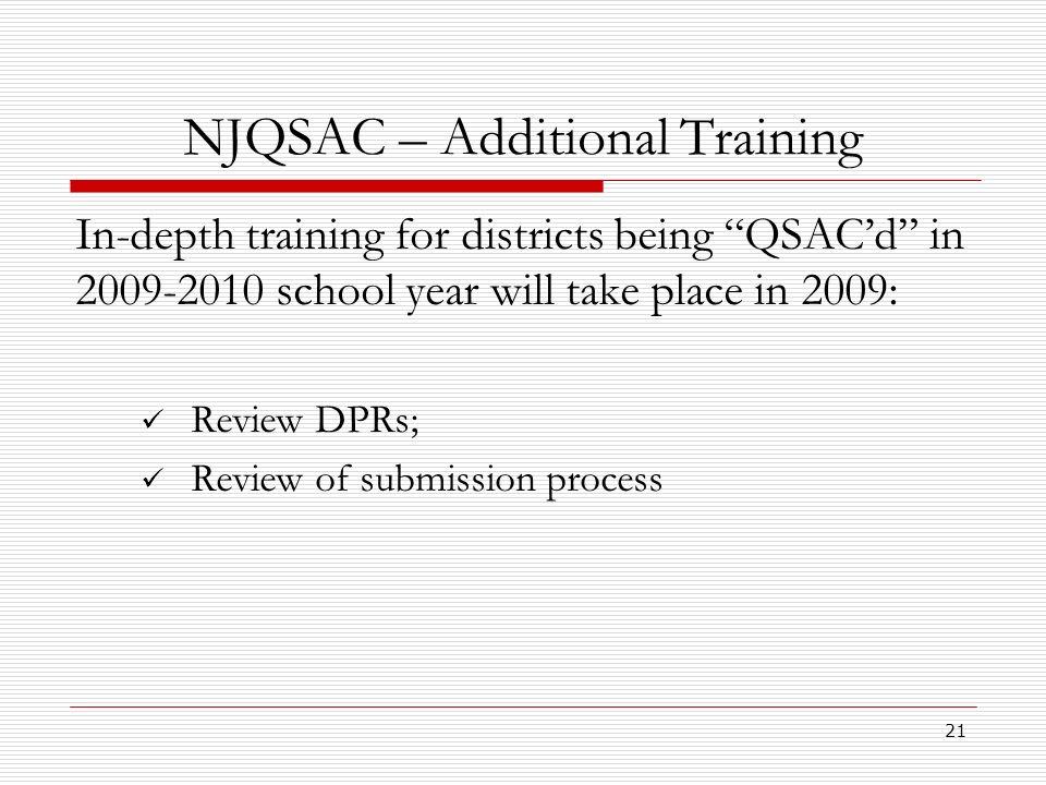 NJQSAC – Additional Training
