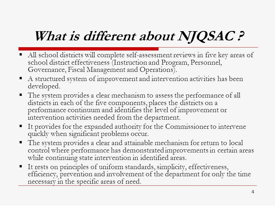 What is different about NJQSAC