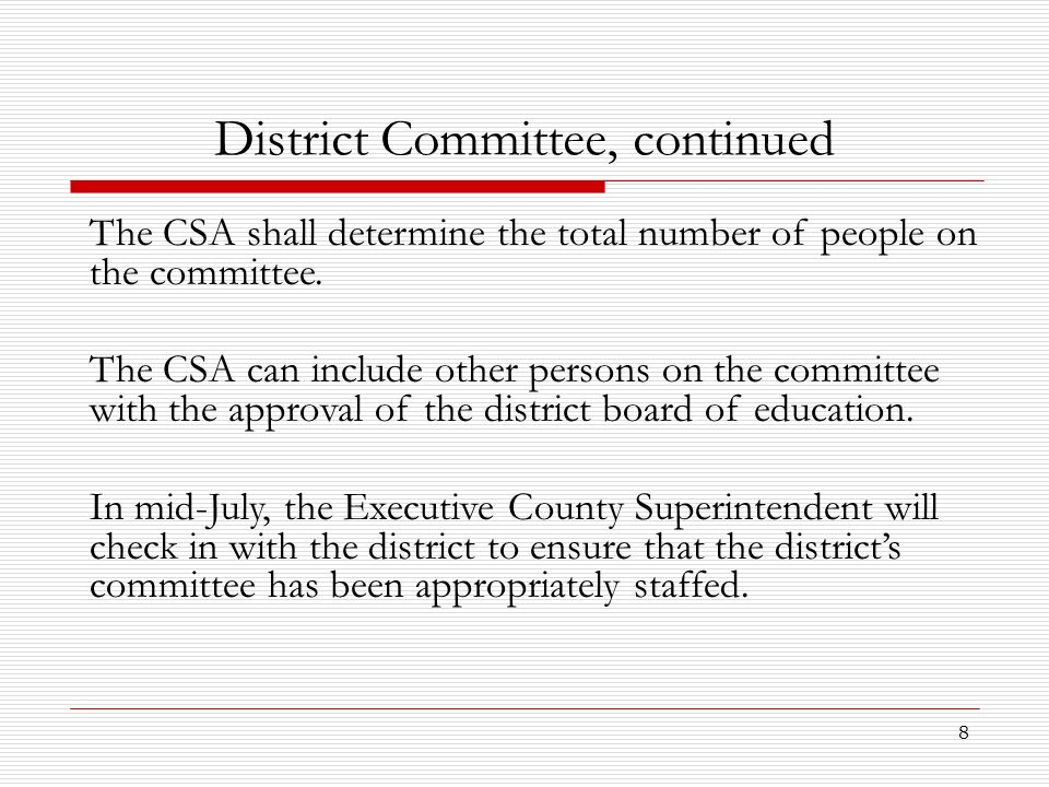District Committee, continued