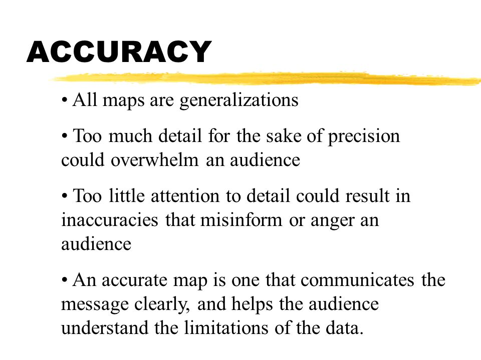ACCURACY All maps are generalizations