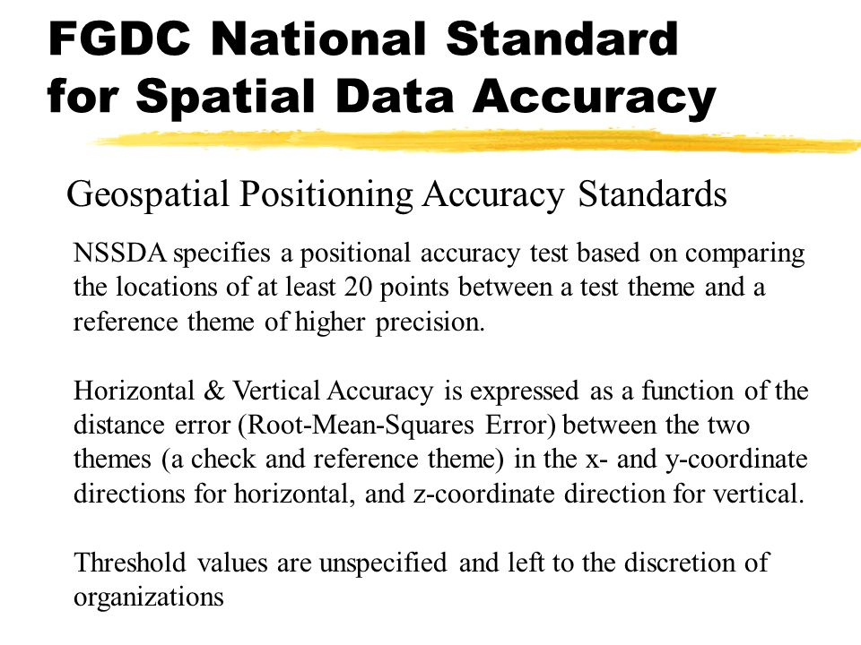FGDC National Standard for Spatial Data Accuracy