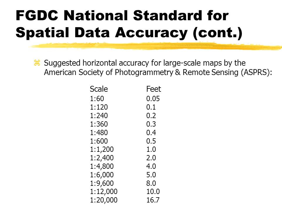 FGDC National Standard for Spatial Data Accuracy (cont.)