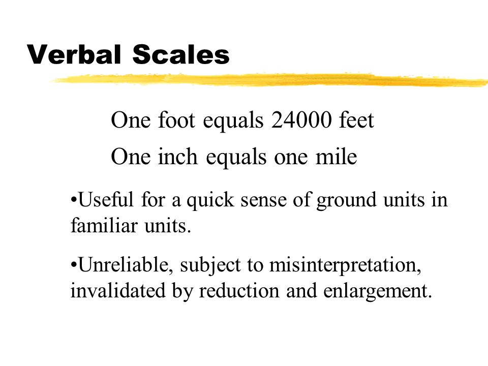 Verbal Scales One foot equals 24000 feet One inch equals one mile