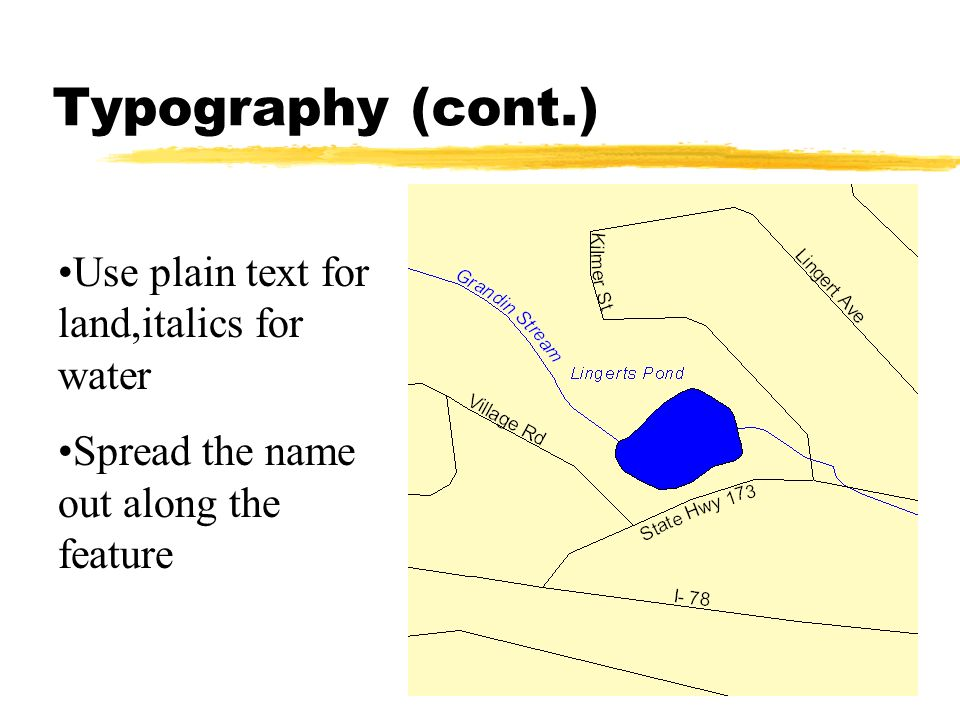 Typography (cont.) Use plain text for land,italics for water