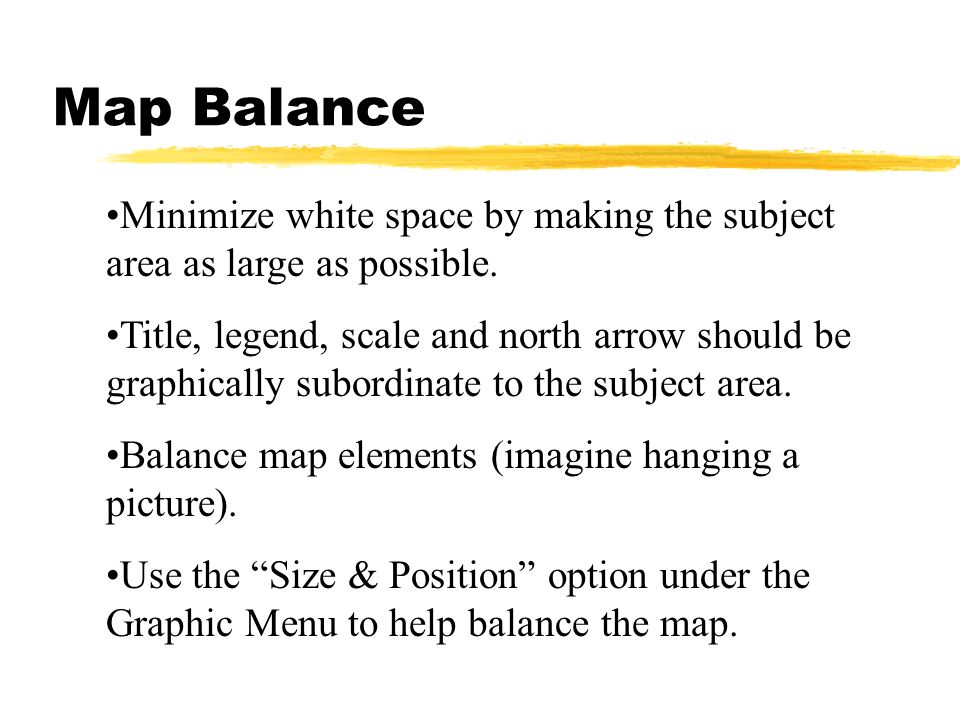 Map Balance Minimize white space by making the subject area as large as possible.