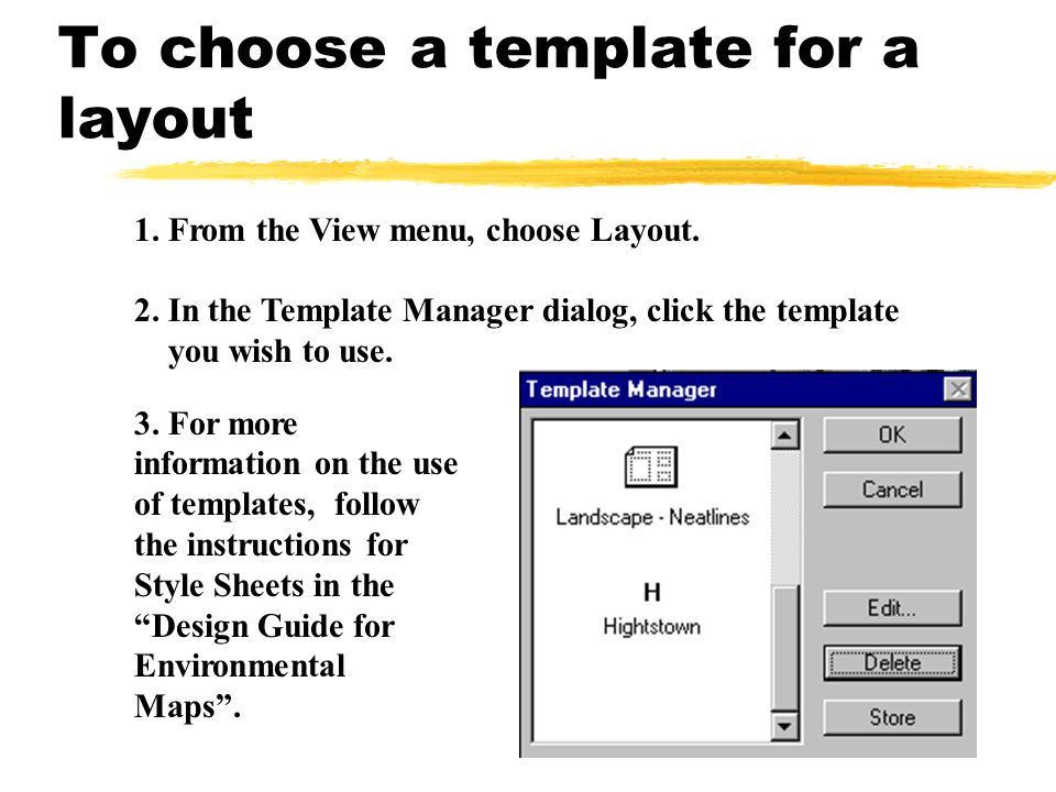 To choose a template for a layout
