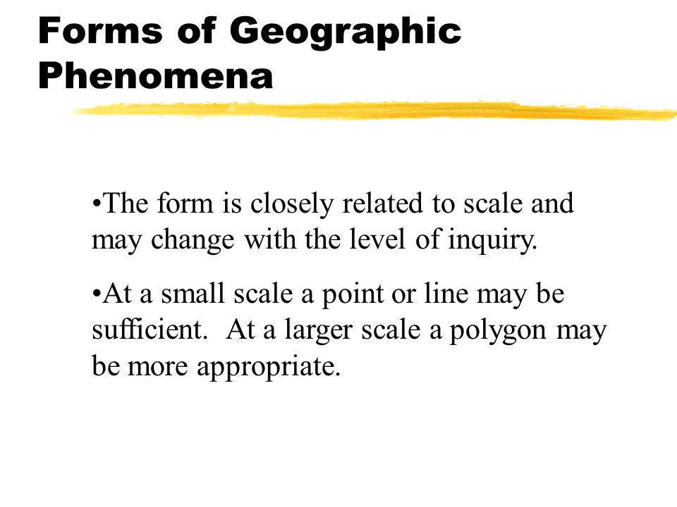 Forms of Geographic Phenomena