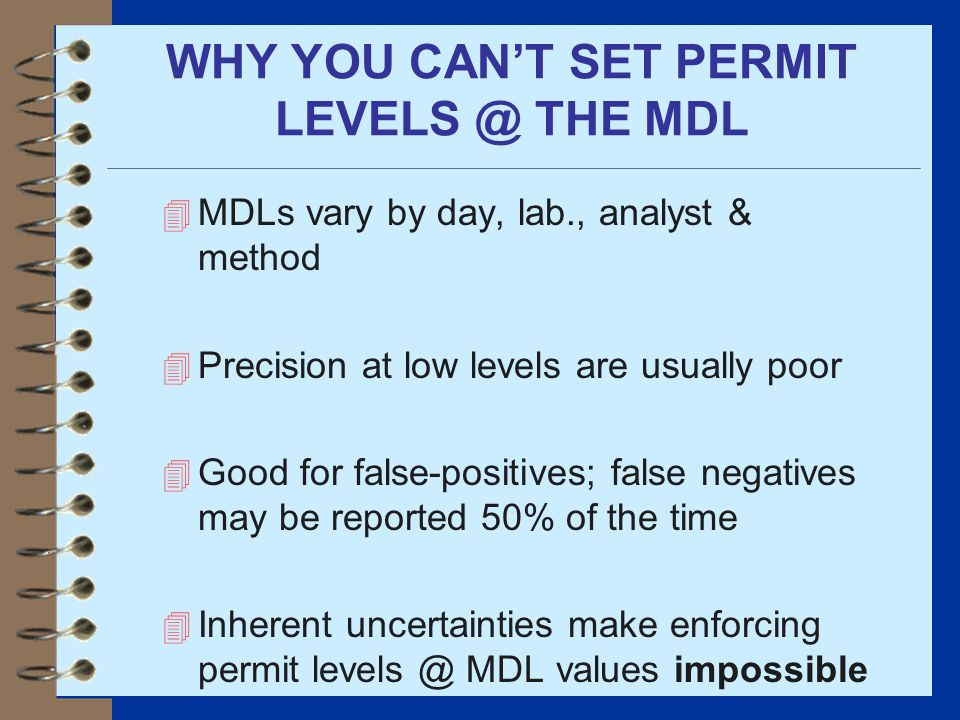 WHY YOU CAN'T SET PERMIT LEVELS @ THE MDL