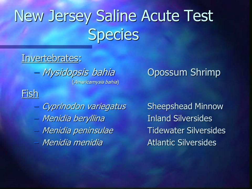 New Jersey Saline Acute Test Species