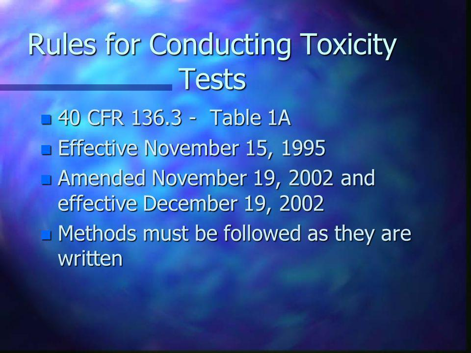 Rules for Conducting Toxicity Tests