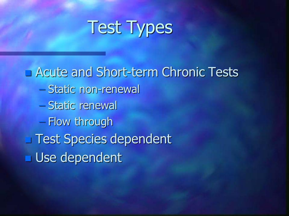 Test Types Acute and Short-term Chronic Tests Test Species dependent