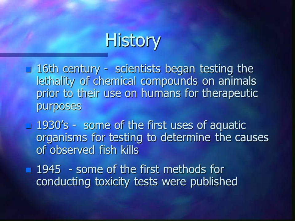 History 16th century - scientists began testing the lethality of chemical compounds on animals prior to their use on humans for therapeutic purposes.