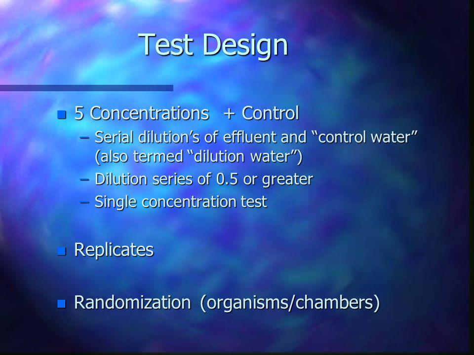 Test Design 5 Concentrations + Control Replicates
