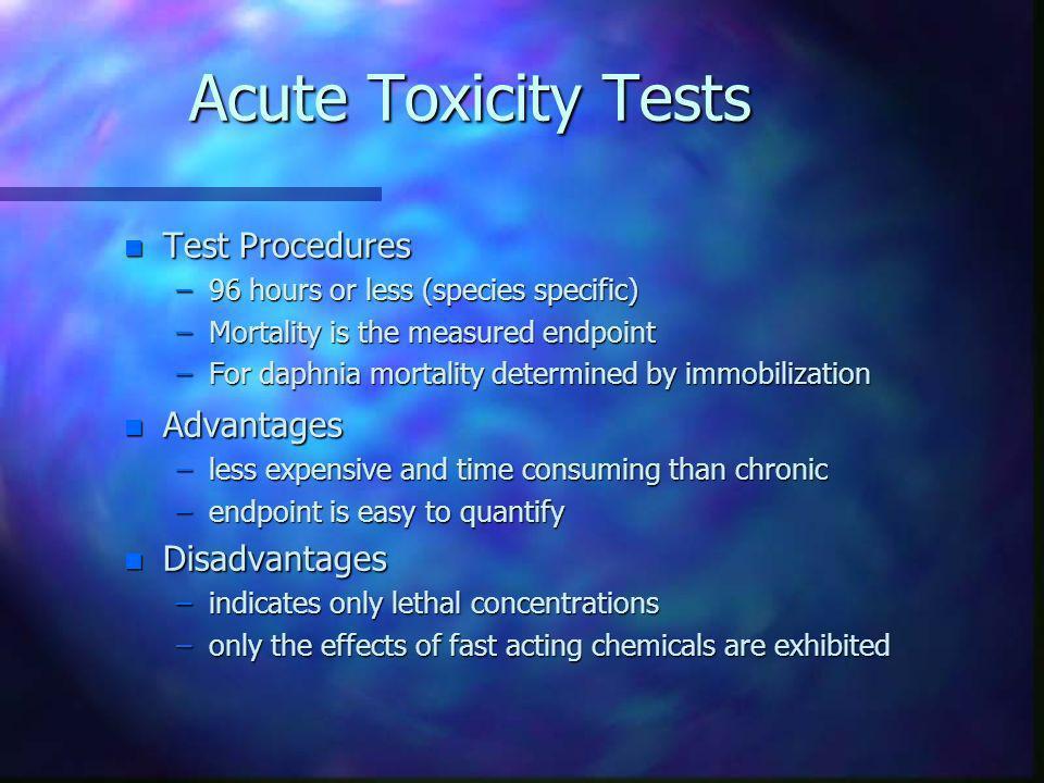 Acute Toxicity Tests Test Procedures Advantages Disadvantages
