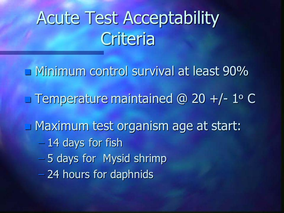 Acute Test Acceptability Criteria