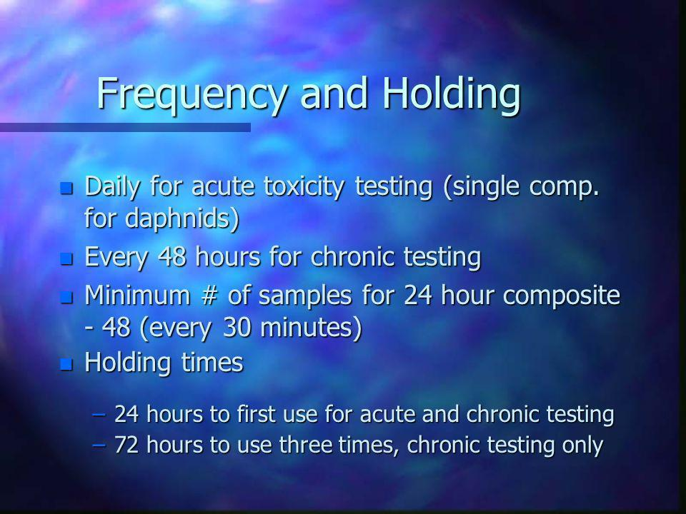 Frequency and Holding Daily for acute toxicity testing (single comp. for daphnids) Every 48 hours for chronic testing.