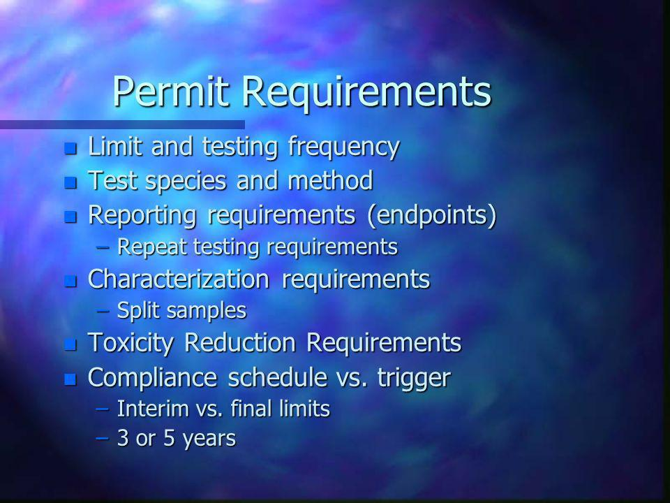 Permit Requirements Limit and testing frequency