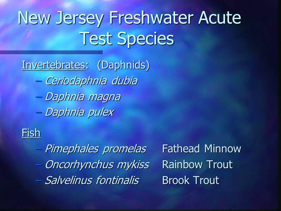 New Jersey Freshwater Acute Test Species