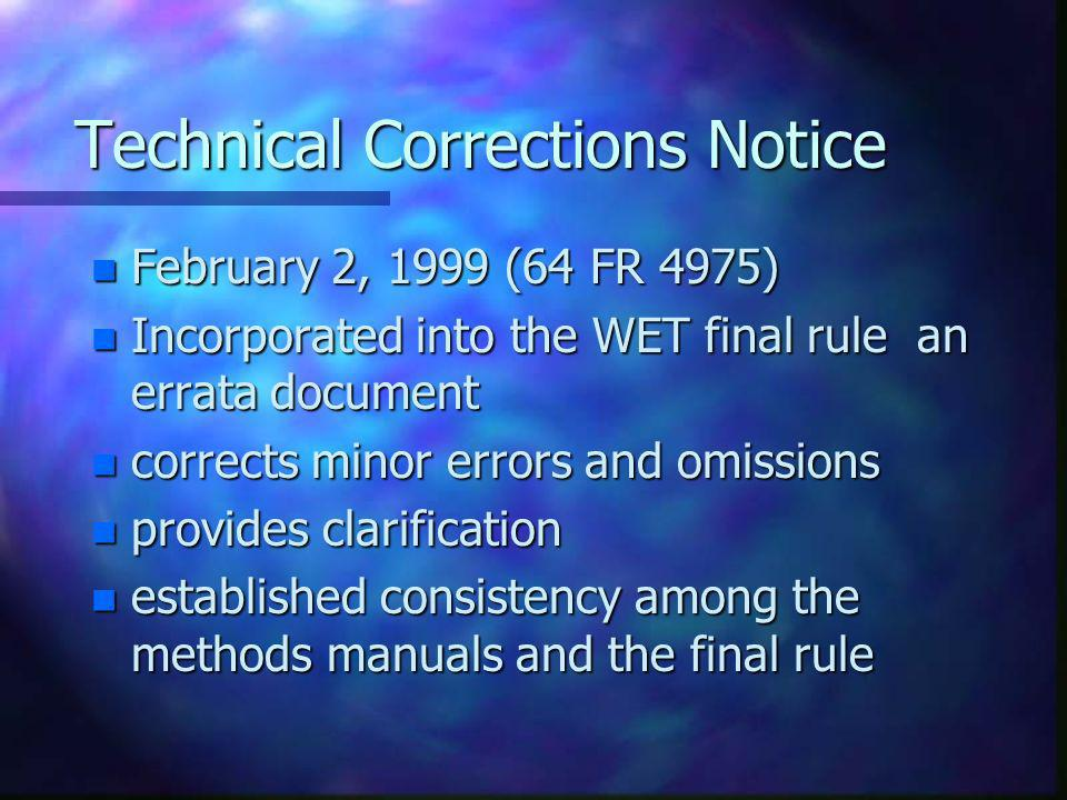 Technical Corrections Notice