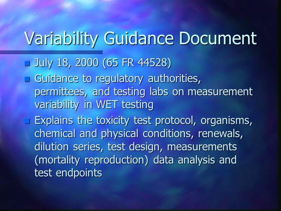 Variability Guidance Document